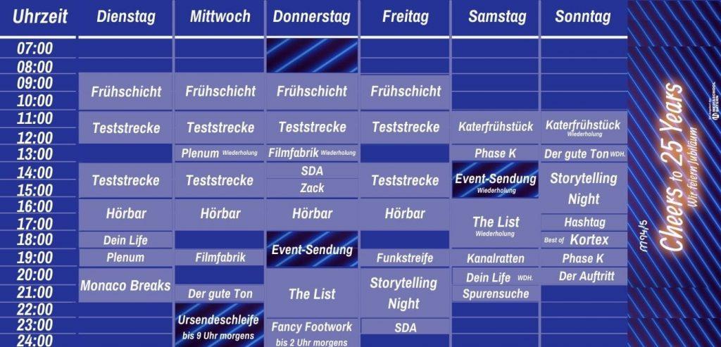 """Der Sendeplan für """"Cheers to 25 Years!"""""""